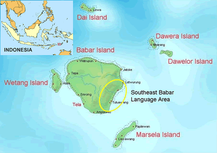 Babar, Southeast in Indonesia map