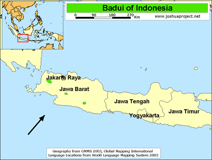 Baduy, Kanekes in Indonesia map