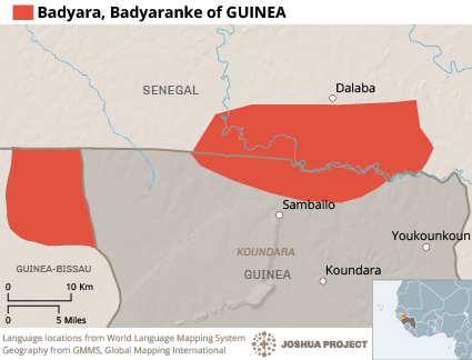 Badyara in Guinea map