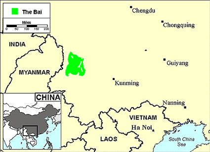 Bai, Southern in China map