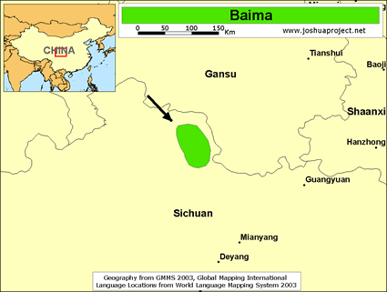 Baima in China map