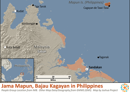 Jama Mapun, Bajau Kagayan in Philippines map