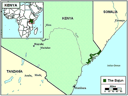 Bajuni in Kenya map