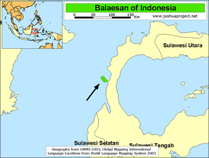 Balaesan in Indonesia map