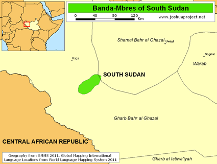 Banda-Mbres in South Sudan map