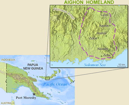 Aighon in Papua New Guinea map