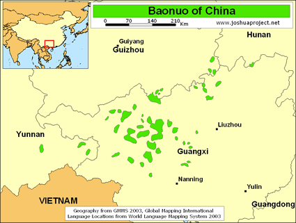 Baonuo in China map