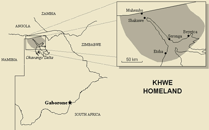 Kxoe, Xun in Namibia map