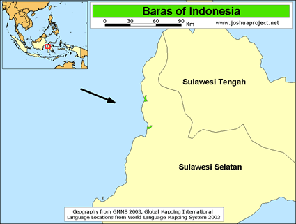 Baras in Indonesia map