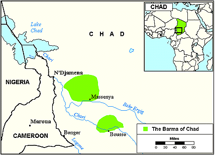 Barma in Chad map