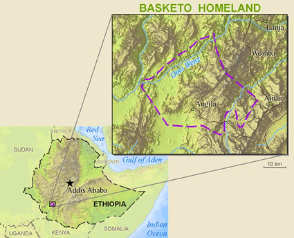 Basketo in Ethiopia map