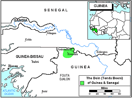 Bassari in Guinea map