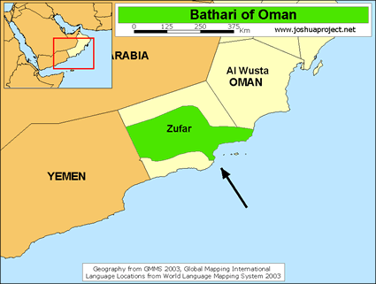 Bathari in Oman map