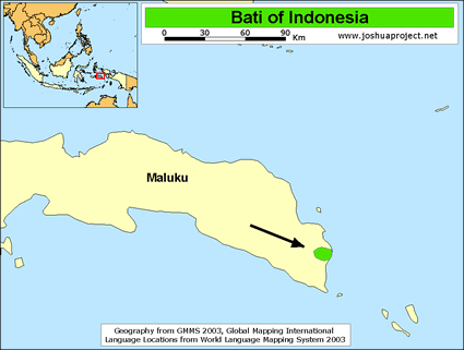 Bati in Indonesia map