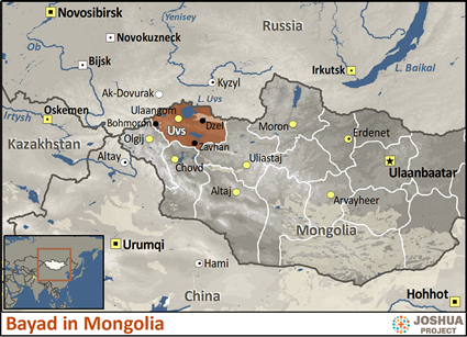 Bayad in Mongolia map