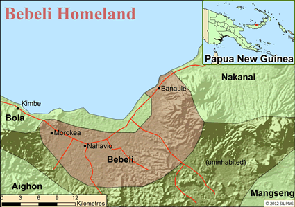 Bebeli in Papua New Guinea map