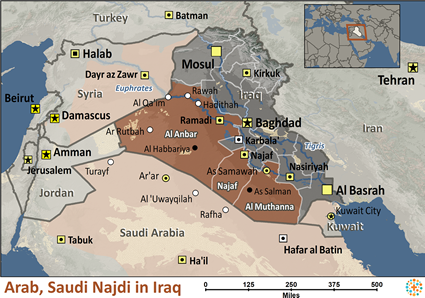 Saudi - Najdi in Iraq map