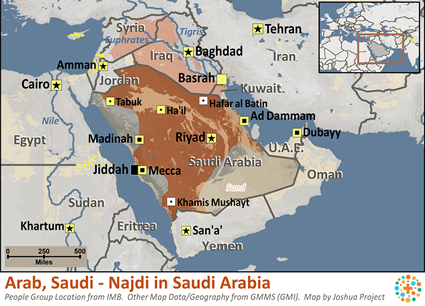 Arab, Saudi - Najdi in Saudi Arabia map