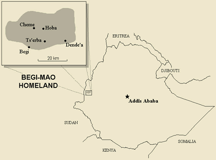 Hozo in Ethiopia map
