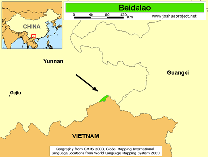 Beidalao in China map