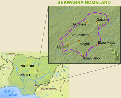 Bekworra, Yakoro in Nigeria map