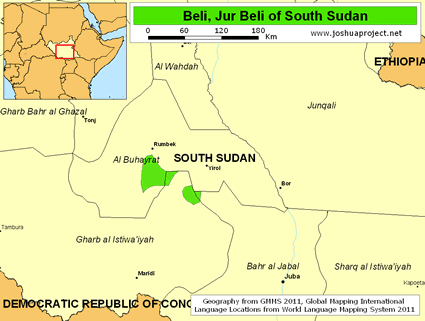 Beli, Jur Beli in South Sudan map