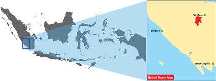 Belide in Indonesia map