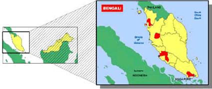 South Asian, Bengali-Speaking in Malaysia map