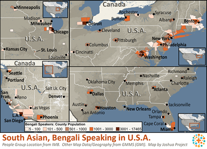 South Asian, Bengali-Speaking in United States map