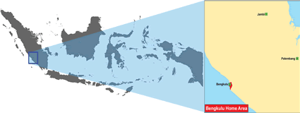 Bengkulu in Indonesia map
