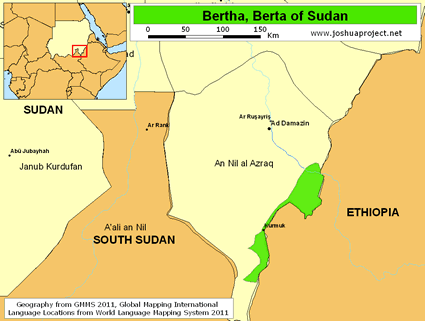 Berta, Benishangul in Sudan map