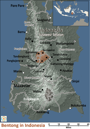 Bentong in Indonesia map