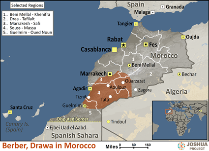 Berber, Drawa in Morocco map