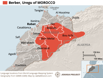Berber, Uregu in Morocco map