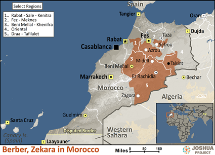 Berber, Zekara in Morocco map