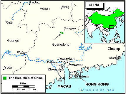 Biao Mien in China map