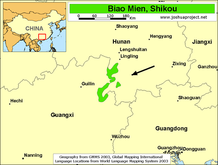 Biao Mien, Shikou in China map