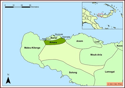 Bibling, Aria in Papua New Guinea map