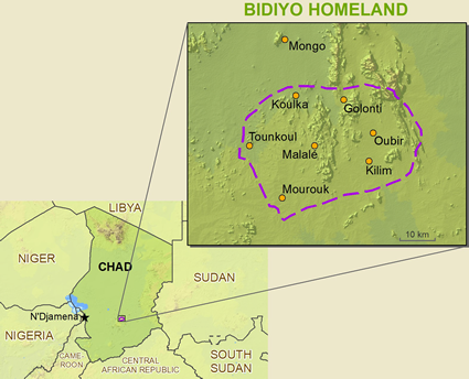 Bidio in Chad map