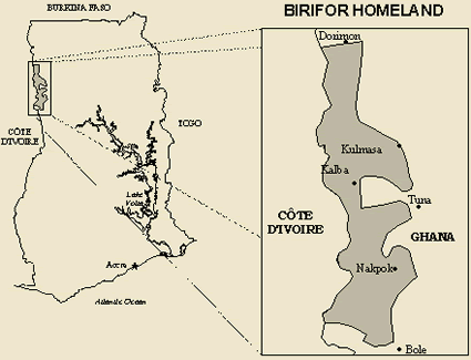 Birifor, Southern in Ghana map
