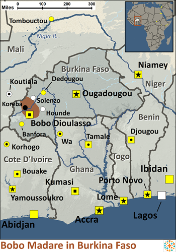 Bobo Madare in Burkina Faso map