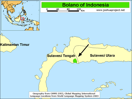 Bolano in Indonesia map