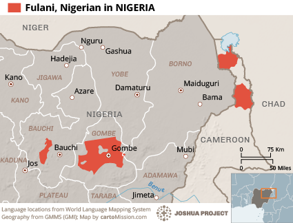 Fulani, Nigerian in Nigeria map