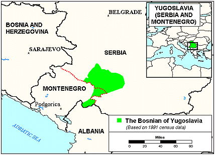 Bosniak in Serbia map