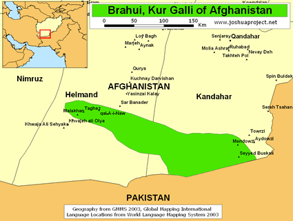 Brahui in Afghanistan map