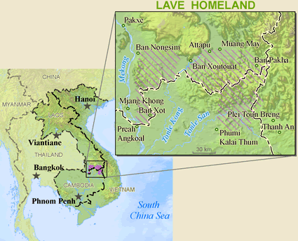 Brao in Laos map