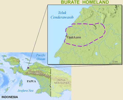 Burate in Indonesia map