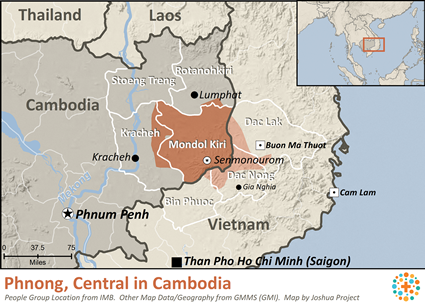 Mnong, Central in Cambodia map