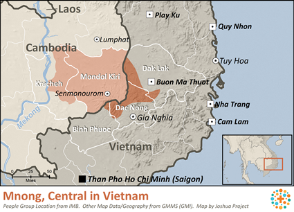 Mnong, Central in Vietnam map
