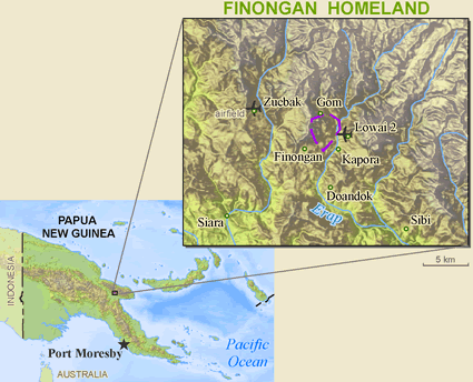 Finungwan in Papua New Guinea map